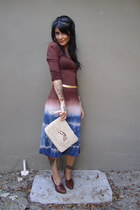 violet tie-dye thrifted dress - ivory macarame vintage purse - dark brown vintag