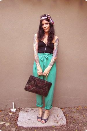 turquoise blue vintage liz claiborne pants - brick red metallic vintage scarf