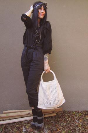 black H&M pants - beige vintage bag - heather gray BOUGHT IN ITALY heels