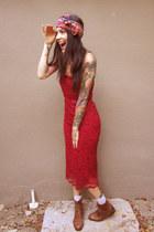 burnt orange vintage Nine West boots - red lace thrifted dress - hot pink thrift