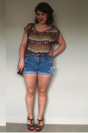 blue high-waisted DIY shorts - bubble gum sheer 5th and Culture shirt