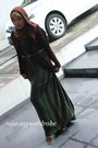 Forest-green-maxi-dress-unbranded-dress-brown-paris-unbranded-scarf