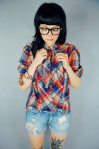 plaid shirt shirt - cut-off shorts - reader glasses