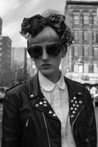 leather jacket jacket - scarf - cat eye glasses