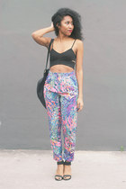 violet lush life Nasty Gal pants - black asos bag - black pyre UNIF heels