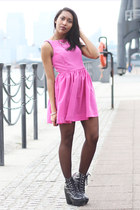 black tardy Jeffrey Campbell boots - bubble gum American Apparel dress