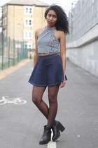 black UNIF top - black may Miista boots - navy American Apparel skirt