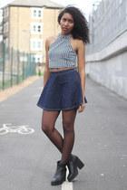 black UNIF top - black may Miista boots - navy American Apparel skirt