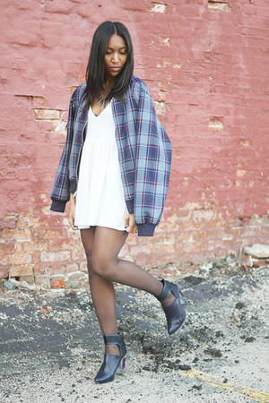 white Nasty Gal dress - navy Miista boots - navy American Apparel jacket