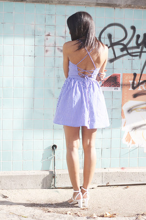 blue c-o American Apparel dress - white Alexander Wang sandals