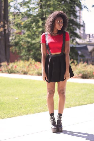 black Nasty Gal skirt - black tardy Jeffrey Campbell boots - black Primark socks