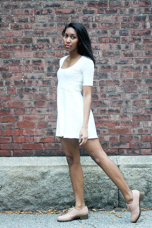 white For Love & Lemons dress - peach Miista loafers