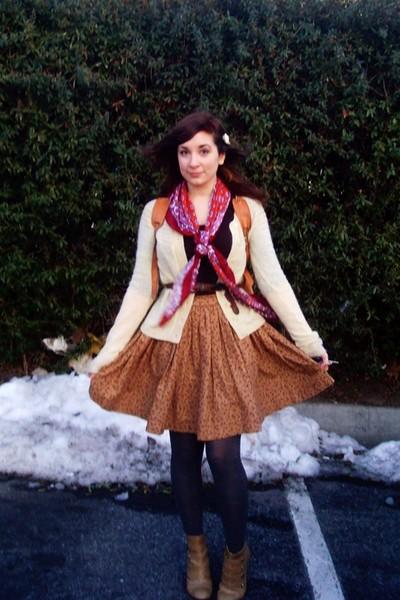 brown tailored skirt - brown  shirt - black Target tights - red Target scarf
