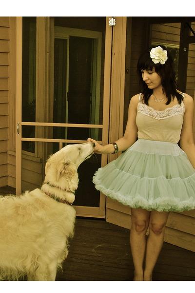 beige Target shirt - blue vintage skirt - white Forever 21 accessories - silver