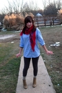 Blue-h-m-shirt-red-target-scarf-gray-walmart-leggings-yellow-h-m-socks-b