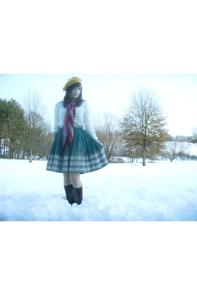 blue handmade skirt - brown Nine West boots - yellow H&M shirt - red Target scar