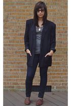 black blazer - Urban Outfitters jeans - brown Steve Madden shoes - silver H&M t-