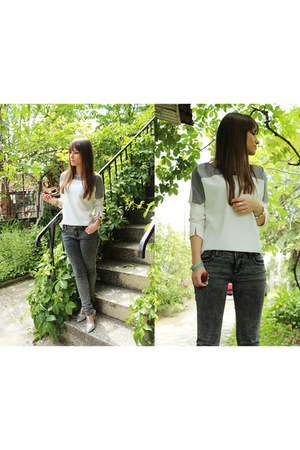 heather gray Temt jeans - ivory Choies shirt - silver OASAP sandals