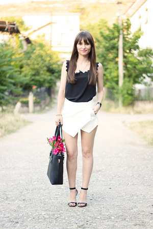 black romwe bag - white asymmetrical OASAP shorts - black chiffon OASAP top