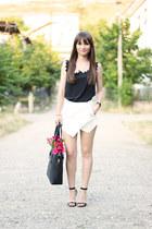 black romwe bag - white asymmetrical OASAP shorts - black chiffon OASAP top