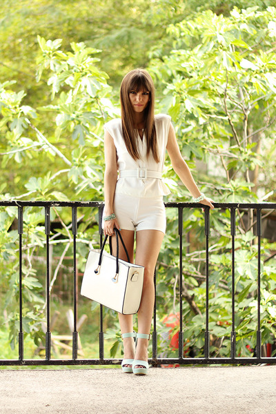 white milanoo bag - white sammydress shorts - light blue Quiz Clothing heels