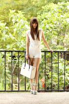 white milanoo bag - white sammydress shorts - light blue Quiz Clothing heels