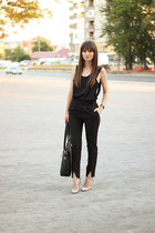 black OASAP bag - black suspenders romwe pants