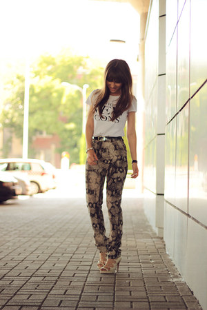 heather gray animal print chicnova pants