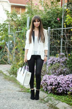 white milanoo bag - Zara boots - Stradivarius leggings - H&M blazer