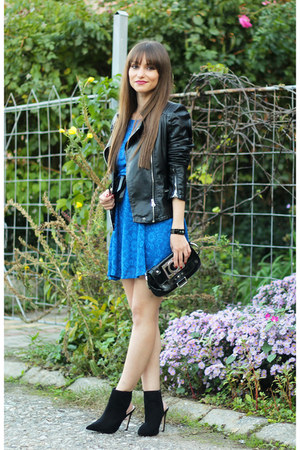 blue lace Wal-G dress - suede Zara boots - black faux leather Martofchina jacket