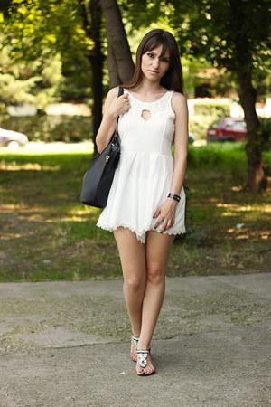 white dresslily romper - black OASAP bag - black milanoo sandals