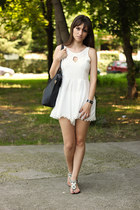 white dresslily romper - black OASAP bag - black milanoo sandals