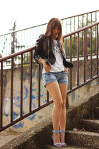 black leather Mart of China jacket - sky blue Stradivarius sandals