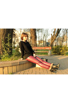 black romwe sweater - black romwe bag - brick red Chicisimo pants