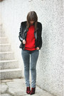 Ruby-red-asos-boots-red-oasap-sweater-black-chicwish-vest