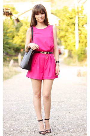 hot pink OASAP romper - black OASAP bag