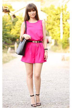 hot pink OASAP romper - black OASAP bag