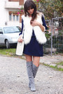 Heather-gray-suede-dressve-boots-navy-scallop-sugarhill-boutique-dress