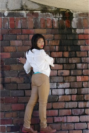 white chiffon blouse - brown shoes - blue Accessorize belt - tan leather pants