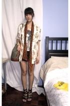 MNG top - vintage blazer - forever 21 scarf - Naf Naf shorts - miracle shoes