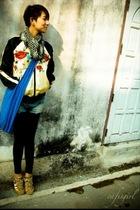 jacket - blue purse - gold Converse shoes