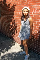 Home made dress - Converse shoes - free people hat