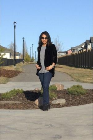 black suede sam edelman boots - black velvet wilfred blazer