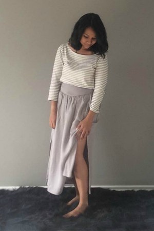 silver lyocell rayon wilfred skirt - ivory t-shirt JCrew top