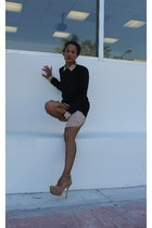sam edelman shoes - creme Forever 21 dress - black Thrifted Mini Dress dress