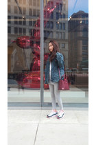 denim jacket asos jacket - burgundy Furla bag - Zara top