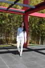 White-jean-zara-jeans-stripes-anne-klein-shirt