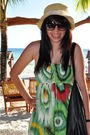 Beige-hat-green-dress-black-sunglasses