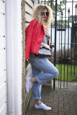 red leather biker Primark jacket - light blue boyfriend jeans H&M jeans
