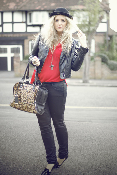 black bowler Primark hat - black leather H&M jacket